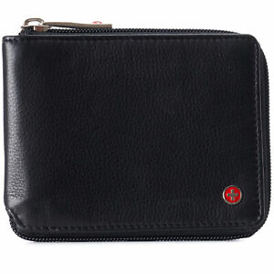 Alpine Swiss Zipper Bifold Wallet for Men Women RFID Protected Genuine Leather