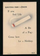 Advert SMOKING Cigarette Greetings generic Valentine's PPC Used 1921