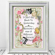 Alice In Wonderland print, Wall Art Girls room, Cheshire Cat, Pink Nursery Decor