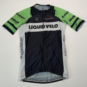 Garneau Black & Green Liquid Velo Full Zip Cycling Jersey - Size Small