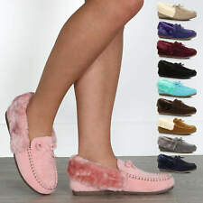 WOMENS LADIES FUR COLLAR LINED GRIP SOLE INDOOR MOCCASINS HOUSE SLIPPERS SIZE