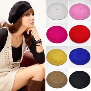 Ladies Plain Beret Wool Blend French Beret Winter Autumn Women Hat Cap Fashion