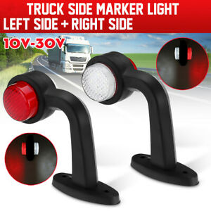Left + Right LED Side Marker Red & White Light Stalk Indicator For Trailer