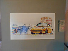 8x14 inPhoto of Watercolor Painting Porsche Stuttgart by David Caswell Illust