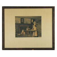 """Set of (2) Wallace Nutting Signed Hand Colored Framed Prints 15""""x18"""" Each"""