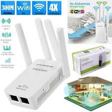 4-Antenna Wireless Router Range Signal Booster Wifi Extender Repeater 300Mbps UK