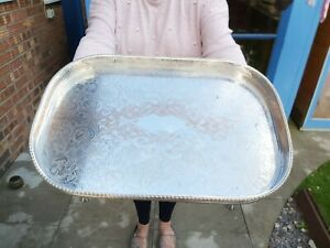 An Antique Silver Plated Gallery Tray With Engraved Patterns.clawed Legs.1920.s