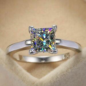 1.Ct Princess Cut D/VVS1 Diamond Engagement Ring 14K White Gold Finish