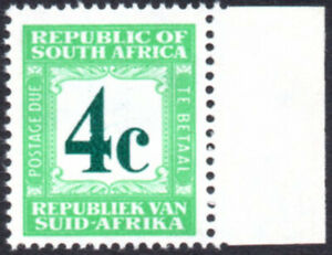 """South Africa Postage Due 1961-9 4c NICK IN """"4"""" variety, SG.D54a UM"""