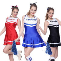Cheerleader Fancy Dress Outfit High School Uniform Musical Costume w/ Pompoms