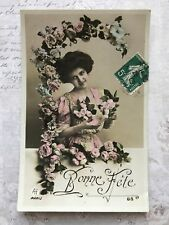 Beautiful Lady French Fashion Original Vintage Postcard c.1909