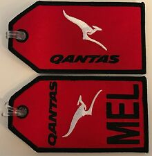 SET OF 2 QANTAS & MELBOURNE TAGS AIRLINES AVIATION TRAVEL FABRIC LUGGAGE BAG TAG