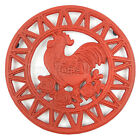 Rooster Roses Trivet Cast Iron Rustic Red Antique Style Hot Pot Plate Holder