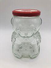Vintage 1988 Kraft Teddy Bear Glass Jelly Jar Red Metal Lid