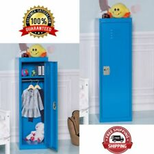 Kids Safe Storage Children Single Tier Metal Locker Blue 48-Inch Book Books Hats