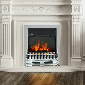 Modern Electric Fireplace 1 & 2KW LED Fire Place Remote Heater Lighting