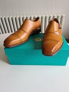 """Edward Green """"Ashton"""" Tan Brown Calf Leather Monk Shoes, UK 8, E fit, BNIB"""