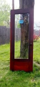 2 Antique Vintage Wood Wooden Exterior Entry Door Beveled Glass And Screen 1907