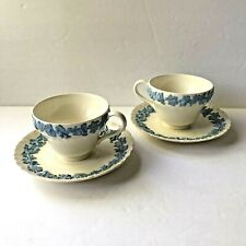 Pair Vintage Wedgwood Queensware Tea Cup & Saucer Shell Edge Lavender on Cream