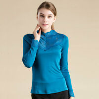 100% Silk Knit Women Lace Mock Turtle Neck Long Sleeve Vest Top Blouse
