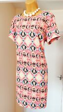 NEW Pink Patterned Floaty Summer Holiday Tea Party Shift Dress - Size 16