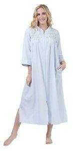 Miss Elaine Plus Size Long Zip Seersucker Robe NEW  Size 3X  Blue