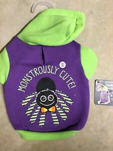 """PETCO BOOTIQUE Halloween """"MONSTROUSLY """"  LITE UP Hoodie Puppy/Dog xsmall"""