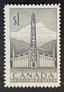 Canadian Stamp, Scott #321 1 Dollar 1953 Indian House and Totem Pole VF M/LH
