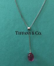 Tiffany & Co 18K White Gold Rainbow Pink Tourmaline Drop Necklace 16""