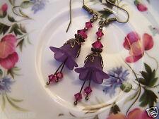 LUCITE FLOWER EARRINGS VINTAGE STYLE PURPLE Fuschia Swarovski elements