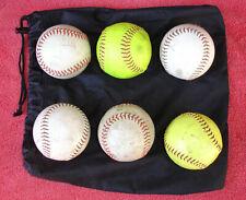 Baseball Softball Draw String Ball Bag & 6 Used Softballs Practice Balls