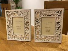 "PAIR OF LAURA ASHLEY PHOTO ornate mirrored FRAMES 3.5"" x 5"" (9cm x 13cm)"