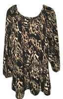 Style & Co. Women's Blouse Size XL 3/4 Sleeve Animal Print Pullover Shirt Top