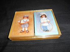 Hallmark Collectible Bridge Playing Cards Set Boy & Girl In Blue - Golden Edges