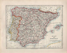 1909 VICTORIAN MAP ~ SPAIN & PORTUGAL ~ BALEARIC ISLES