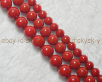 """AAA Coral Red South Sea Shell Pearl Round Loose Beads 15"""" 8/10/12mm"""