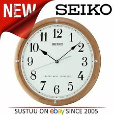 Seiko QXR303Z 31 x 3.7cm White Face Radio Controlled Wooden Wall Clock NEW