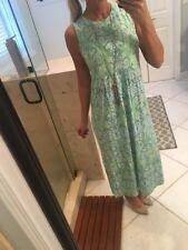 J. Jill Women's Sz XS Maxi Dress Sleeveless Slit Side Green Blue Pattern Soft