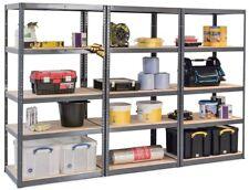 3 x GREY Boltless Shelving Storage Unit 5 Tier Display Racking Warehouse Shops