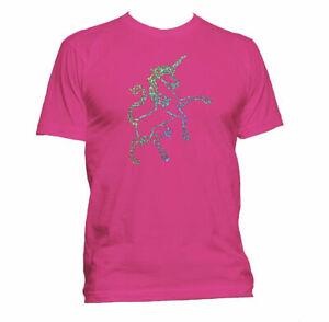 Ladies Unisex Silver Unicorn - Pink T-Shirt size XL Summer Festival Womens Girls