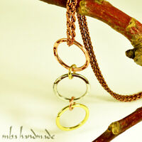 Pure Copper Wire Wrapped Unisex Circle Pendant Artisan Hammered Necklace