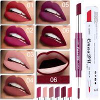 6 Color 2 in1 Lip Liner Lipstick Waterproof Lip Gloss Pen Double-end Lasting NL
