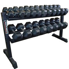 POWER MAXX 2.5kg -25kg Rubber Hex Dumbbell Set 10 Pairs with Rack Commercial Gym