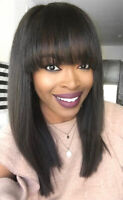Straight Brazilian Wigs Human Hair Glueless Lace Front Wig with Bangs Full Lace