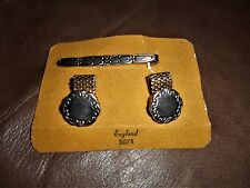 Sarah Coventry Silver Tone tie clip bar & Cuff links with gold chain