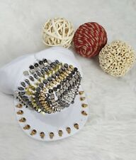 NEW WHITE STUDDED BASEBALL CAP HAT SKELETON PEARL STUDS SPIKES WHITE UNISEX