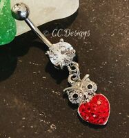 Golden Boxing Gloves Sparkle Belly Navel Button Ring Clear 14G
