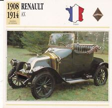 RENAULT AX - FRANCE 1914 - CARTE FICHE COLLECTOR VOITURE OLDTIMER