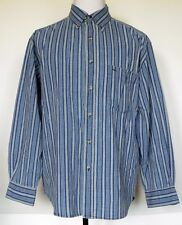 Cactus Clothing Blue Striped Button-Front L/S Heavy Cotton Western Shirt L