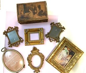 VINTAGE Lot Ornate Oval Picture Frames Wood Box Md. Italy Convex Glass Victorian